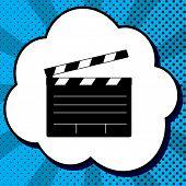 Film Clap Board Cinema Sign. Vector. Black Icon In Bubble On Blu poster