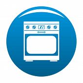 Domestic Gas Oven Icon. Simple Illustration Of Domestic Gas Oven Icon For Any Design Blue poster