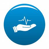Heartbeat Icon. Simple Illustration Of Heartbeat Icon For Any Design Blue poster