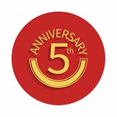 5 Anniversary Sign. Element Of Anniversary Sign. Premium Quality Graphic Design Icon In Badge Style. poster