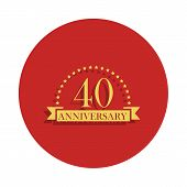40 Anniversary Sign. Element Of Anniversary Sign. Premium Quality Graphic Design Icon In Badge Style poster