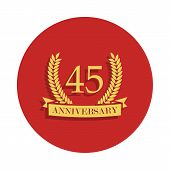 45 Anniversary Sign. Element Of Anniversary Sign. Premium Quality Graphic Design Icon In Badge Style poster