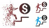 Vector Business Steps Icon In Dispersed, Pixelated Halftone And Undamaged Whole Variants. Disintegra poster
