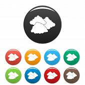 Dark Cloudy Icon. Simple Illustration Of Dark Cloudy Icons Set Color Isolated On White poster