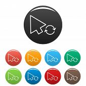 Arrow Cursor Loading Icon. Simple Illustration Of Arrow Cursor Loading Icons Set Color Isolated On W poster