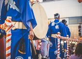Drummer Performance, Taiko Drums Japanese Folklore. Japanese Artists Perform At Bon Festival In Blue poster