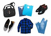 Collage Of Mens Clothes Pieces Isolated. Macro Photography. Close Up. Object. poster