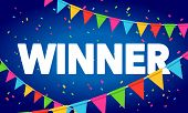 Vector Illustration Winner Congratulations Confetti Triumph Banner. Victory Success Letters With Bac poster