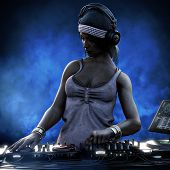 Female Club Dj With Headphones And Turn Table Mixing It Up At A Night Club Party Under The Blue Ligh poster