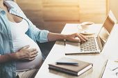 Close Up. Young Pregnant Woman Using Laptop At Home And Holding One Hand On Belly. Young Freelancing poster