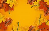 Autumn Background, Tree Paper Leaves, Yellow Backdrop, Design For Fall Season Sale Banner, Poster Or poster