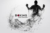 Boxing Silhouette. Background And Text On A Separate Layer, Color Can Be Changed In One Click. Boxin poster