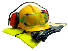 stock photo of ppe  - Various worker safety equipment or gear isolated on white - JPG