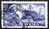 Postage stamp Poland 1956 Fisherman and S.S. Chopin