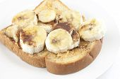 Bananas And  Peanut Butter Bread Sandwich