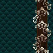 Elegant dark green Rococo background with ornamental margin