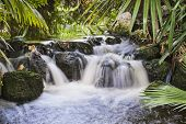 stock photo of punchbowl  - waterfall in a small man made tropical stream with motion blur from long exposure - JPG