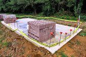 Cinder Block On Concrete Slab At Construction Site