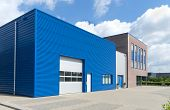 picture of roller door  - facade of a modern blue business unit - JPG