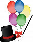 Magic Hat Wand And Balloons.
