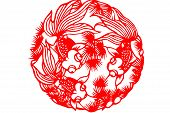 foto of kirigami  - The traditional paper-cut fish on the white