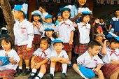 Young Asian Thai Children Uniform Watch Parade