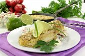 foto of hake  - Potato salad with fresh herbs and hake fillet - JPG
