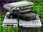 Stack Of Several Modern Mobile Phones