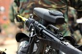 stock photo of gun shot wound  - Close up shoot of paintball marker  - JPG
