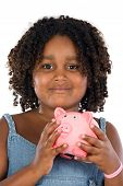 picture of thrift store  - adorable African girl with pink piggy bank in your hands - JPG