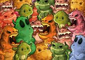 Cute monsters pattern background