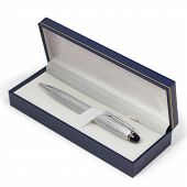 ballpoint pen gift box silver isolated on a white background