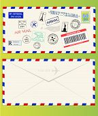 Air Mail Envelope With Postal Stamps