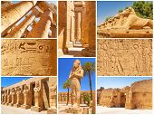 stock photo of ramses  - Collage of Karnak architecture in Luxor - JPG