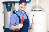 stock photo of pipefitter  - Plumber at work - JPG