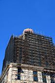 picture of asheville  - Extensive restoration progresses on the art-deco style architecture of the Asheville City Hall in North Carolina. Scaffolding engulfs much of the buildings exterior. ** Note: Slight graininess, best at smaller sizes - JPG