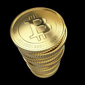 picture of open-source  - Golden Bitcoin cryptography digital currency coins  - JPG