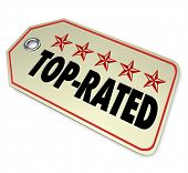 The words Top Rated and five stars to illustrate a product is the best choice among other options in