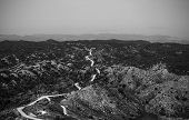 Road To Nowhere, Black And White Picture Of Road Among Hills And