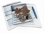 picture of rental agreement  - Mortgage application form with a calculator and house - JPG