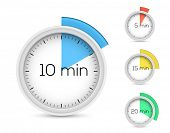 Set of timers. 5, 10, 15, 20 minutes. Vector illustration.