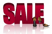 Word Sale And Golden Sandals With High Heels