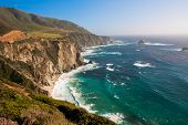picture of bixby  - Beautiful Coastline  along the Mountains in Big Sur - JPG