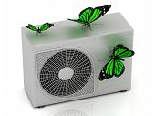 3 Green Butterfly Sits On A Street Conditioner