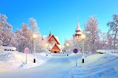 stock photo of laplander  - Kiruna cathedral Architecture at dusk - JPG