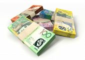 picture of bundle money  - A stack of bundled australian dollar notes on an isolated background - JPG