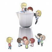 Kids Around Coffee Pot. Vector Design