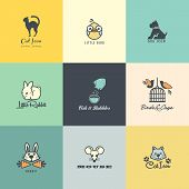 stock photo of caged  - Set of different colorful vector animal icons - JPG