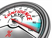 picture of self-confident  - confidence level conceptual meter indicating hudrend per cent - JPG