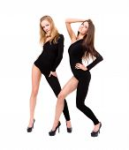 two sexy girls wearing leotard